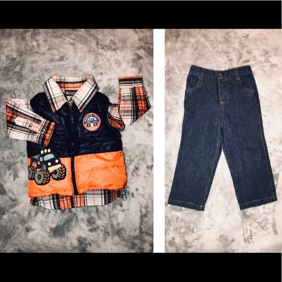 Other - 24m- Baby Boy Plaid Shirt, Puffer Vest & Jeans Set